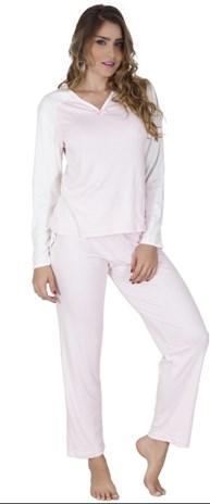 Pijama feminino de inverno em malha canelada e detalhe em guipir L07.B