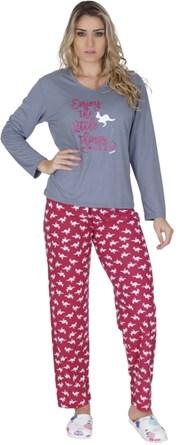 Pijama feminino de inverno em malha estampada L31.A