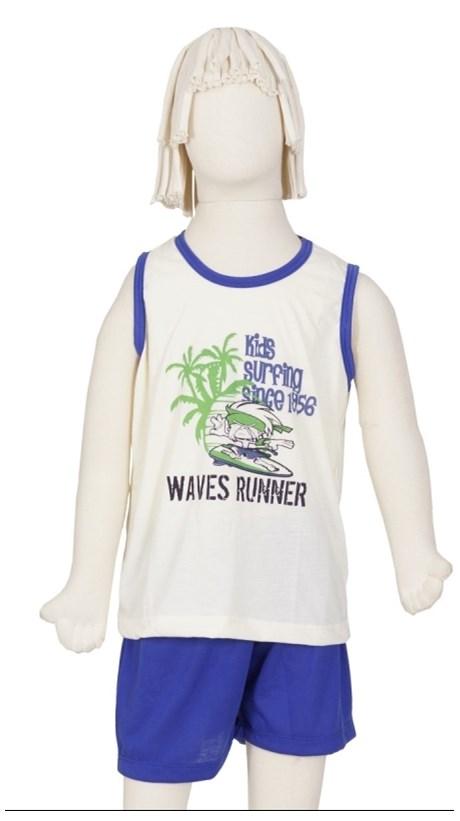 Pijama infantil masculino camiseta em malha lisa com silk R11.C