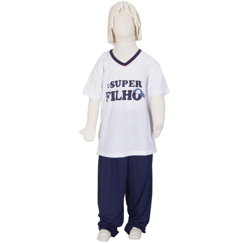 Pijama infantil masculino em malha lisa com silk R38.A