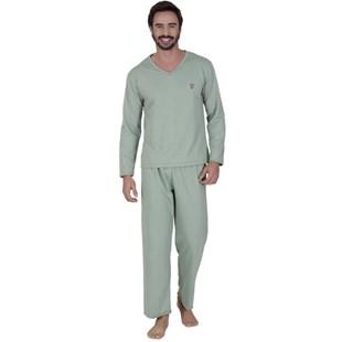 Pijama inverno masculino em moletinho flanelado e cós elástico Q06.A