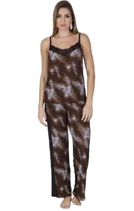 Pijama longo em liganete estampada com detalhe em renda L15.A