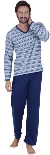 Pijama masculino de inverno em malha listrada Q07.A