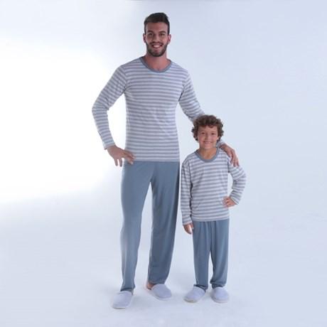 Pijama masculino de inverno em malha listrada Q13.A