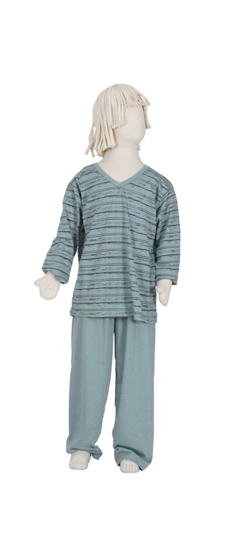 Pijama masculino juvenil gola V em malha riscadinha R39.A