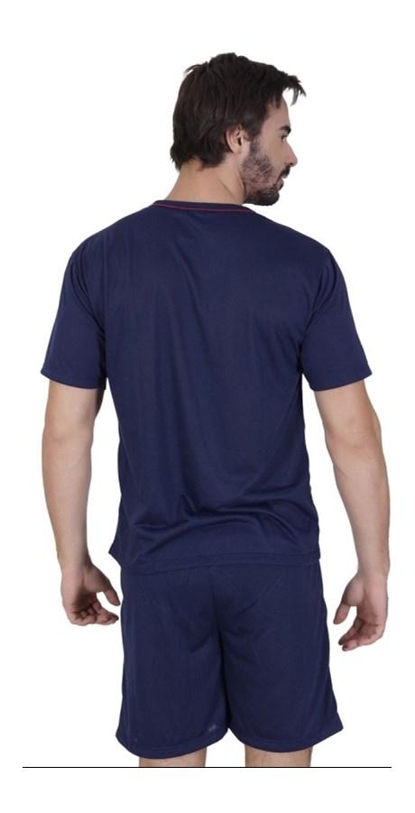 Pijama masculino manga curta em malha lisa e elástico embutido Q10.A