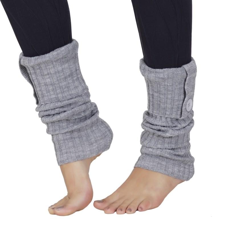 Polaina em lã com detalhe em botão G06.B CINZA