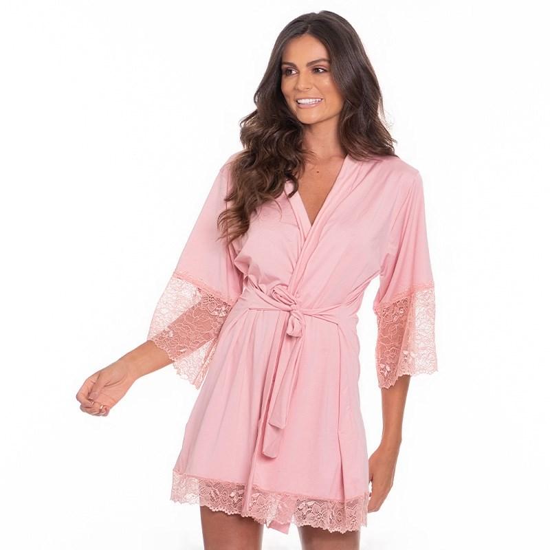 Robe Luxo Super Conforto Com Detalhes em Renda O22.A GOIABA