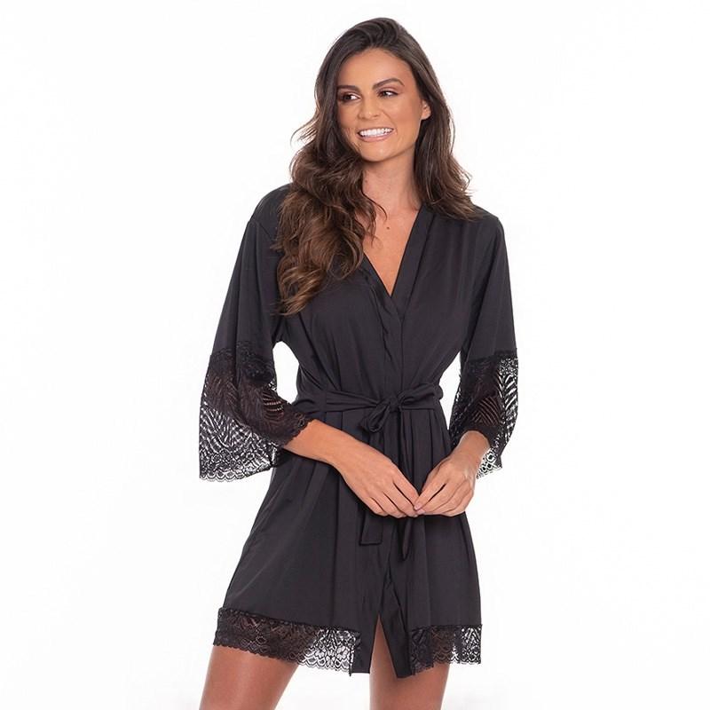 Robe Luxo Super Conforto Com Detalhes em Renda O22.A PRETO