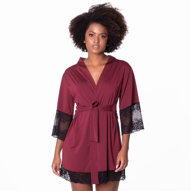 Robe Luxo Super Conforto Com Detalhes em Renda O22.A VINHO