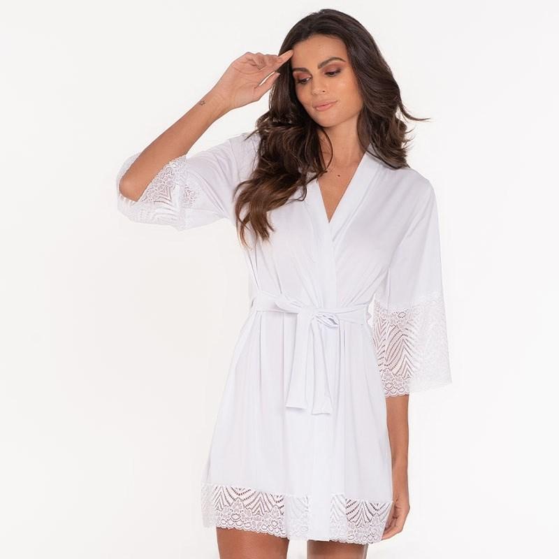Robe Luxo Super Conforto Com Detalhes em Renda O22.A BRANCO