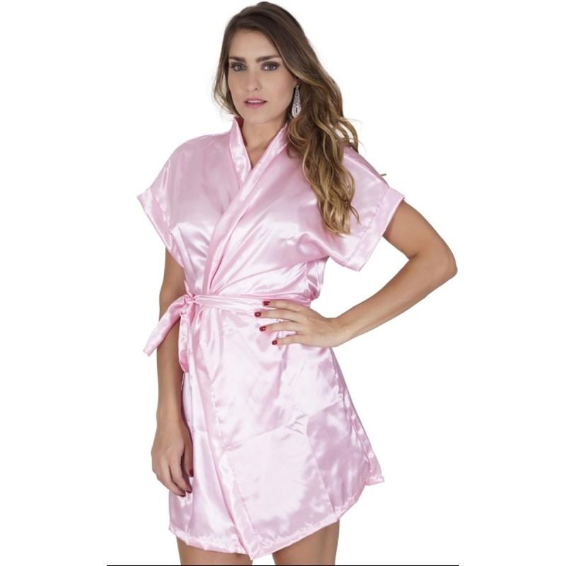 Robe manga curta em cetim liso com amarradura O67 ROSA CLARO