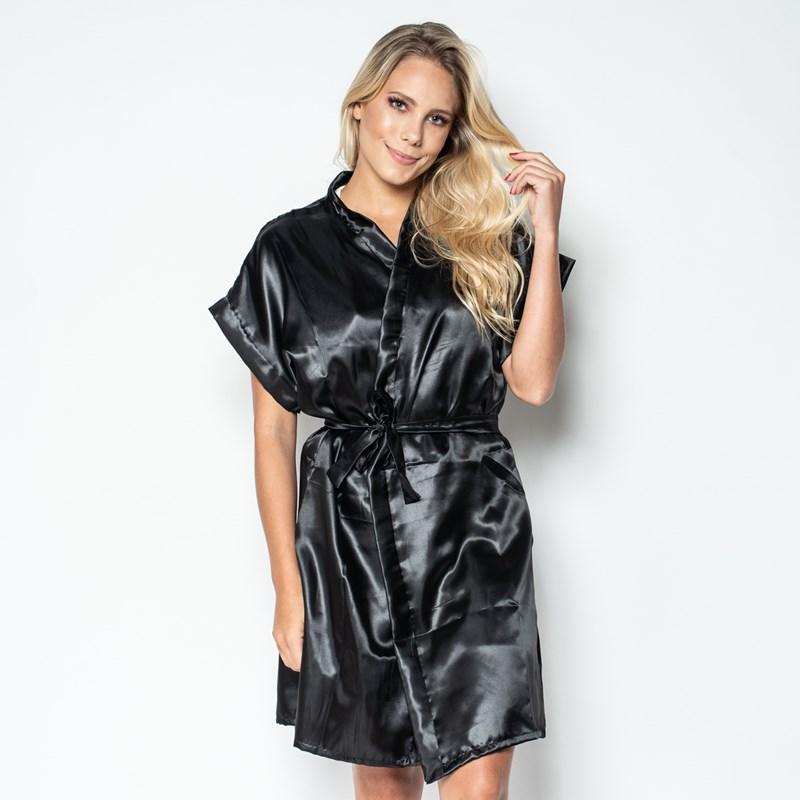 Robe manga curta em cetim liso com amarradura O67 PRETO