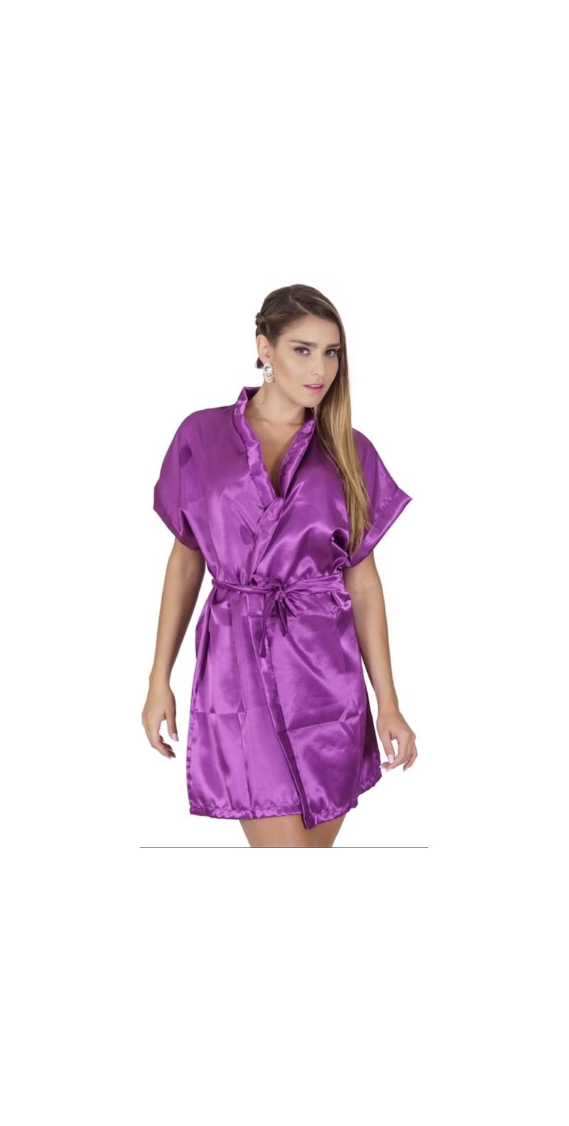 Robe manga curta em cetim liso com amarradura O67 GROSELHA