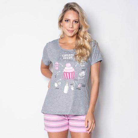 Short Doll Camisa Manga Curta em Malha PV com Estampa e Detalhe Bolso L08.C