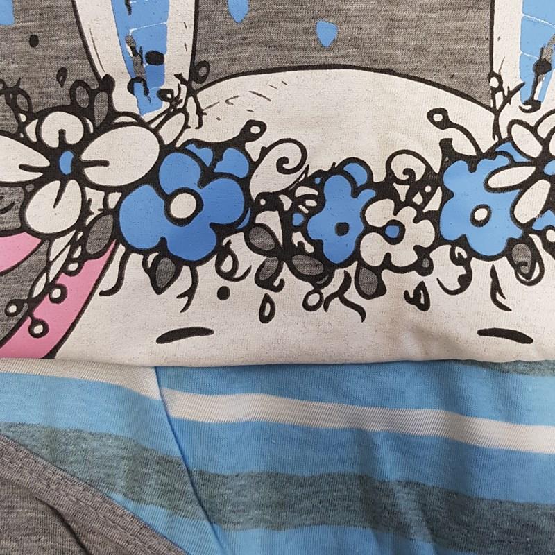 Short Doll Camisa Manga Curta em Malha PV com Estampa e Detalhe Bolso L08.C CINZA C AZUL CLARO
