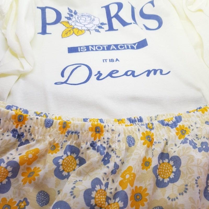 Short Doll em Malha Camiseta com Desenho Short Estampado L10.C CREME
