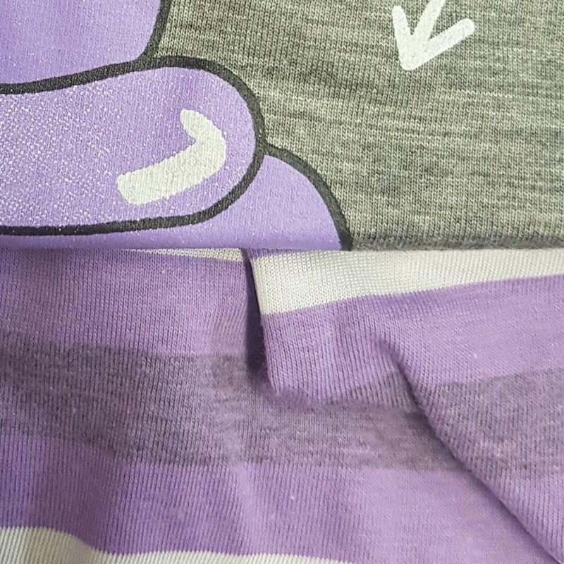Short Doll Regata em Malha PV com Detalhe Botão e Bolso L03.C CINZA COM LILAS