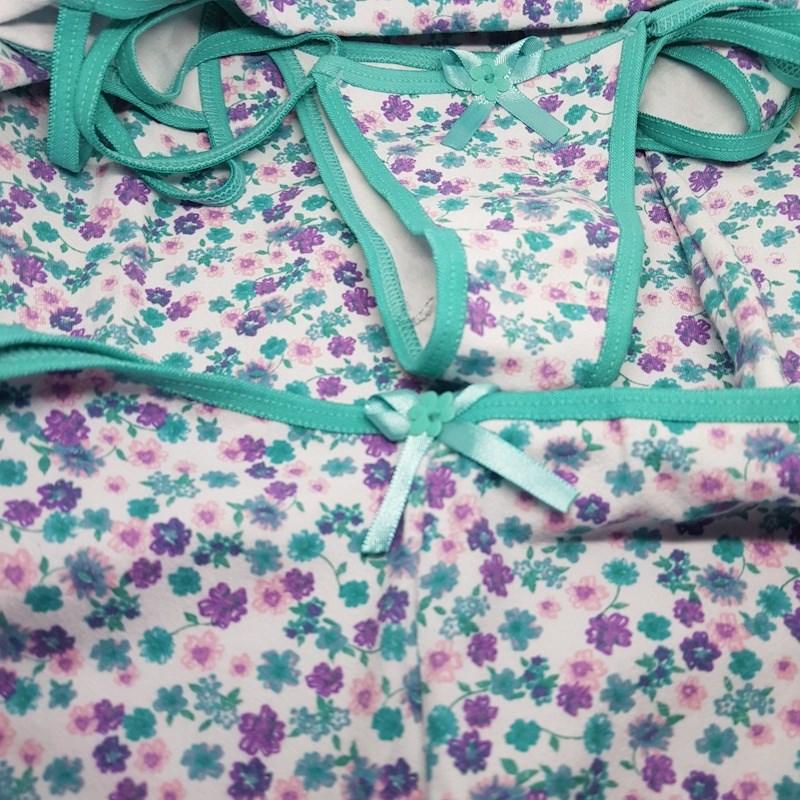 Short Doll Trio Cropped + Calcinhas + Short em Cotton Estampado O57.C VERDE CLARO ESTAMPADO