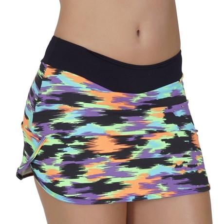 Short saia fitness em suplex estampado com detalhe lateral V151.A