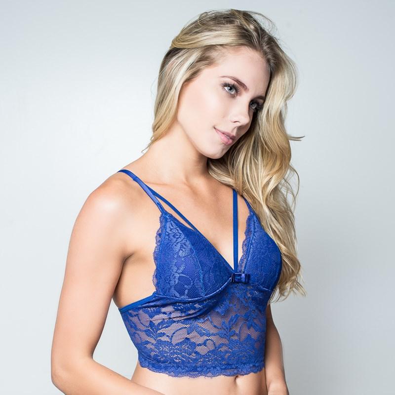 Soutien cropped strappy bra em renda com lacinho I32.A 90fe2eef95