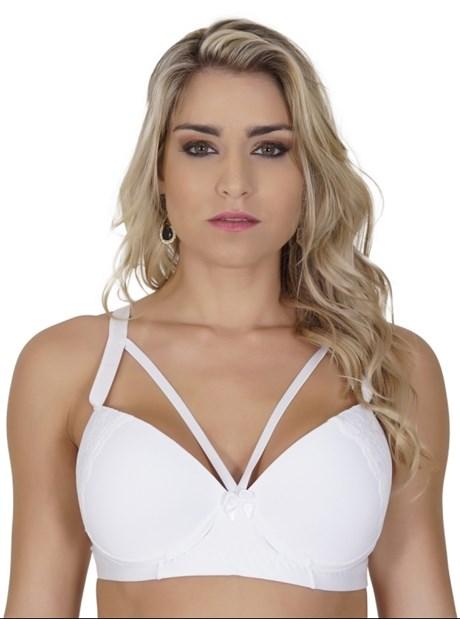 Soutien plus size reforçado strappy bra em microfibra lisa AA12.A