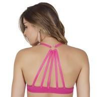 Soutien strappy bra em microfibra lisa com argola e fecho frontal I23.C