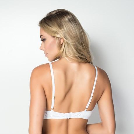 Soutien strappy bra em microfibra lisa drapeada com bijuteria I184.A