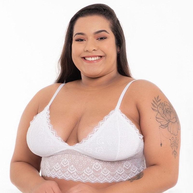 Sutiã Bralette Plus Size Sem Bojo em Renda Com Forro AA22.A