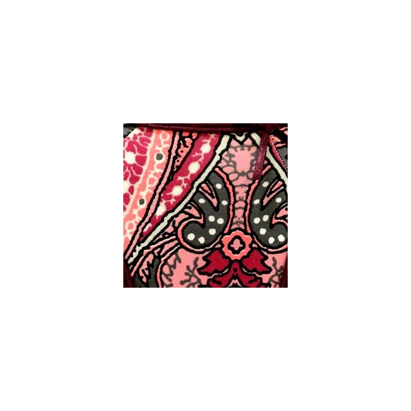 Tanga em microfibra estampada com lacinho lateral em cetim F31.B VINHO VARIADO