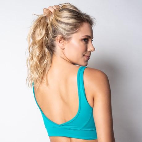 Top fitness com bojo em suplex liso com detalhe em telinha V119.B VERDE ÁGUA