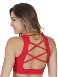 Top fitness strappy bra com bojo em microfibra lisa e telinha V108.A
