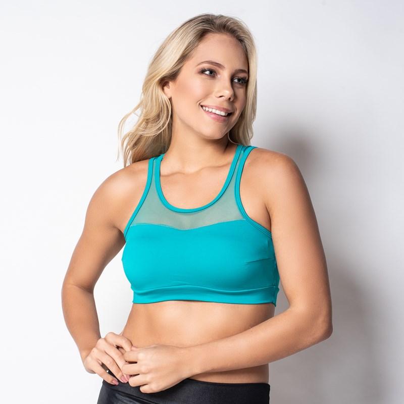 Top fitness strappy bra com bojo em microfibra lisa e telinha V108.A VERDE ÁGUA