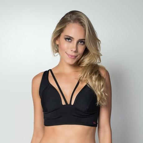 Top fitness strappy bra com bojo em suplex liso e costa nua V16.A