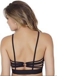 Top fitness strappy bra em microfibra com elástico exposto V72.A