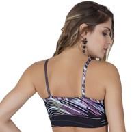 Top fitness strappy bra em suplex estampado com viés largo V75.B