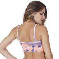 Top fitness strappy bra sem bojo em suplex estampado V93.A