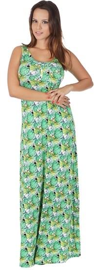 Vestido longo em malha estampada com detalhe em botão RO03