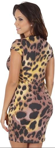 Vestido manga curta em suplex estampado RO09
